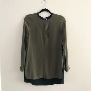 VINCE Olive Long Sleeve Silk Blouse